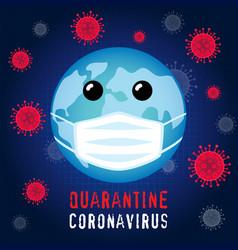 planet in guard mask quarantine coronavirus vector image