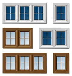 Plastic windows white brown vector
