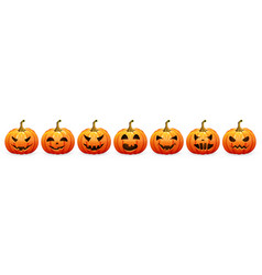 pumpkin set for halloween on a white background ve vector image