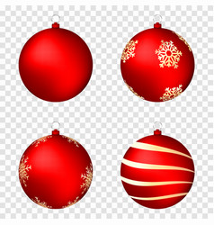 realistic christmas balls isolated on transparent vector image