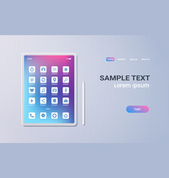 realistic tablet pc mobile application icons ui vector image