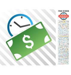 Recurring payment flat icon with bonus vector