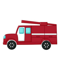 red fire engine car icon cartoon style vector image