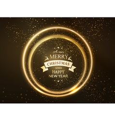 Round golden glowing Merry Christmas rings vector