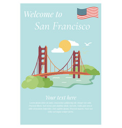 San francisco poster with golden gate bridge vector