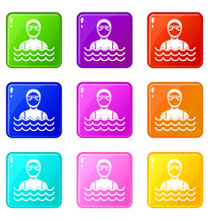 Scuba diver man in diving suit set 9 vector