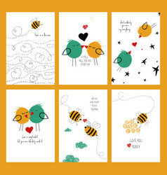 set love cards with bees and birds vector image