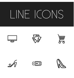 Set of 6 editable trade icons includes symbols vector