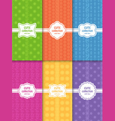 Set of cute bright seamless patterns with frames vector