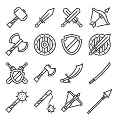 set of fighting knight swords icons vector image