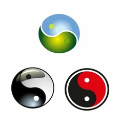 set of yin-yang circle icon download vector image