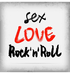 Sex LOVE Rocknroll graffiti on the wall vector image