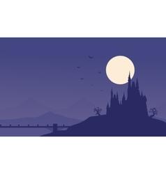 Silhouette of halloween castle and bridge vector