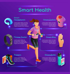 Smart gadgets for sports isometric concept vector