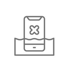 smartphone in water liquid damaged phone line vector image