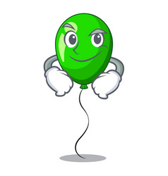 Smirking green baloon on left corner mascot vector