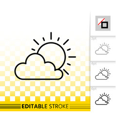 Sun and cloud simple black line icon vector