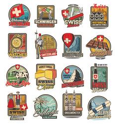 switzerland travel swiss icons chocolate alps vector image