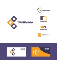 Technology square logo icon vector image