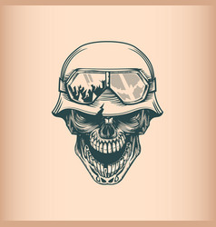 Vintage skull soldier in helm monochrome hand vector