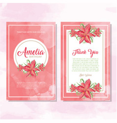 watercolor postcard with flower invitation vector image