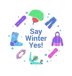 Winter activity and equipment flat icons on circle vector
