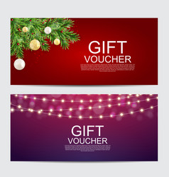 winter christmas new year gift voucher template vector image