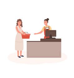 woman at mall checkout flat vector image