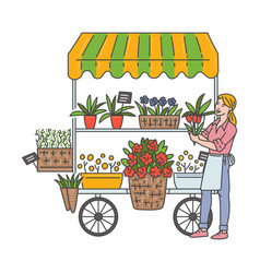 Woman at outdoor flower shop selling floral vector
