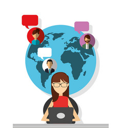 Woman sitting with laptop chatting globe people vector