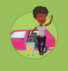 african-american woman traveling by car vector image