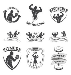 fitness emblems logo design vector image