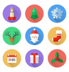 flat design christmas icons set vector image vector image
