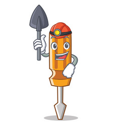 miner screwdriver character cartoon style vector image