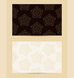 two sided business card golden ornamental design vector image vector image