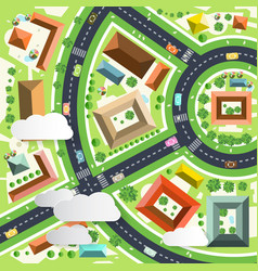 aerial green city scene drone perspective view vector image