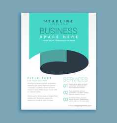 minimal a4 brochure flyer design with blue paper vector image