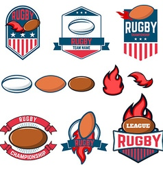 Rugby league Rugby labels emblems and design vector image vector image