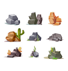 stones and nature rock set with cartoon green vector image
