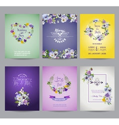 Vintage Pansy Flowers Card Set - for Wedding vector image vector image