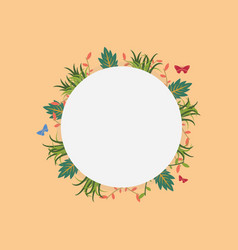 wreath frame with spring flower vector image