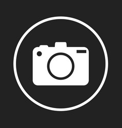 Camera icon logo on black background flat vector
