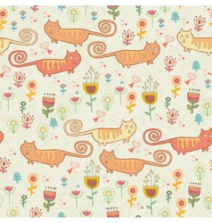 Cute childish seamless pattern with cats vector image vector image