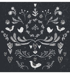 floral decor set of hand drawn doodle vector image vector image