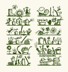 Garden tools on shelves sketch for your design vector image
