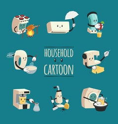 Household appliances cartoon design concept vector