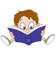boy reading book vector image vector image