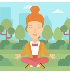 Business woman meditating in lotus pose vector image