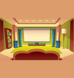 cartoon home theater with projector screen vector image vector image