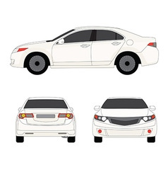 Large sport sedan three side view vector image